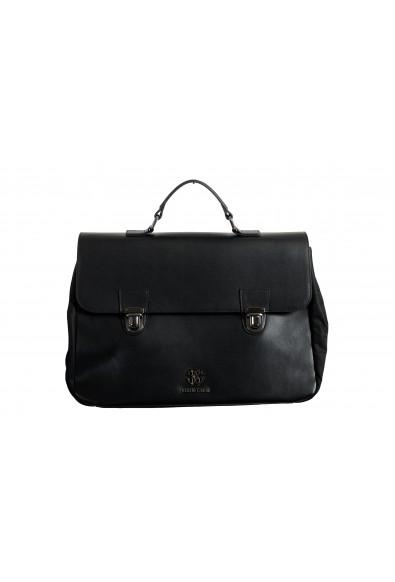 Roberto Cavalli Men's Gunmetal Tone-Logo Leather & Canvas Briefcase Bag