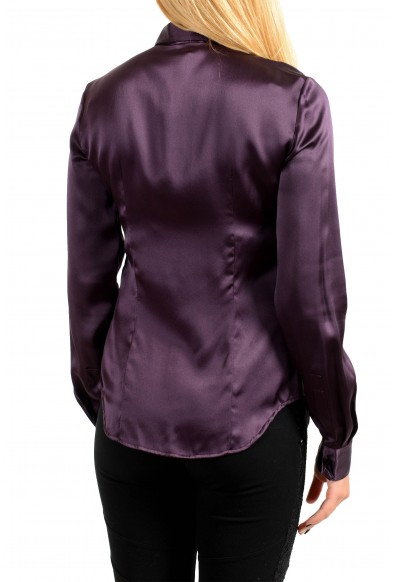 Just Cavalli Women's Purple 100% Silk Button Blouse Top Shirt: Picture 2