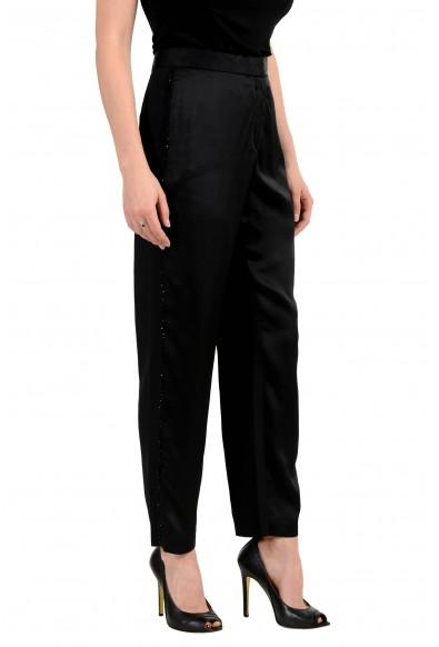 Versace Women's Black Embellished Tuxedo Flat Front Pants: Picture 2