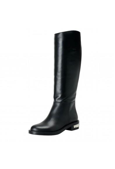 Miu Miu Women's Black Leather Knee Length Boots Shoes