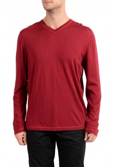 Kiton Napoli Men's Burgundy V-Neck Silk Cashmere Pullover Sweater