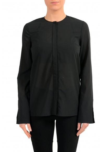 Just Cavalli Women's Black Button Up Long Sleeve Blouse Top