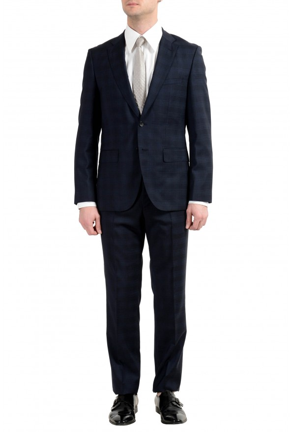 "Hugo Boss ""Johnstons2/Lenon"" Men's 100% Wool Blue Plaid Two Button Suit"