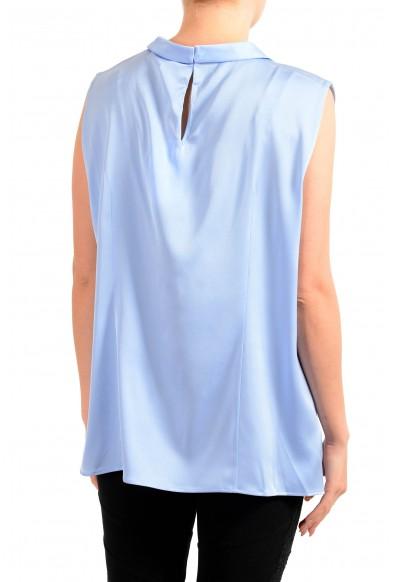 "Hugo Boss Women's ""Lyabo"" Blue Silk Sleeveless Blouse Top: Picture 2"