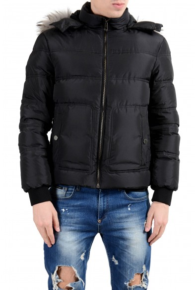 Versace Collection Men's Coyote Fur Down Black Full Zip Hooded Parka Jacket
