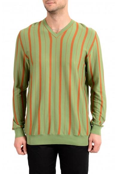 Kiton Men's Orange & Green Striped V-Neck Pullover Sweater