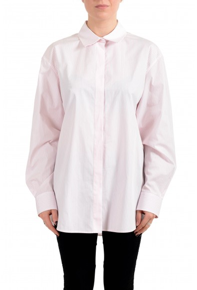 "Hugo Boss Women's ""Reeka"" White & Pink Striped Blouse Top Shirt"