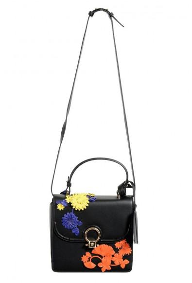 Versace 100% Leather Black Flower Embellished Women's Handbag Shoulder Bag
