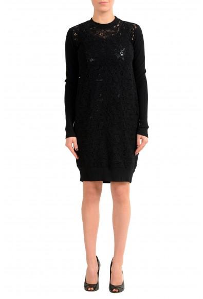 Versace Versus Black Long Sleeve Women's Sheath Dress