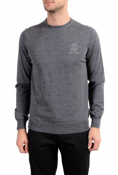 Roberto Cavalli Men's 100% Wool Gray Crewneck Sweater