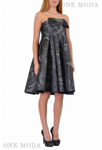 Viktor & Rolf Multi-Color Floral Bow Decorated Strapless Sheath Dress: Picture 2