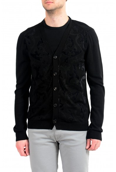 Just Cavalli Men's Black 100% Wool Cardigan Sweater