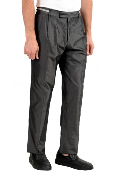 Versace Men's 100% Silk Gray Pleated Dress Pants: Picture 2
