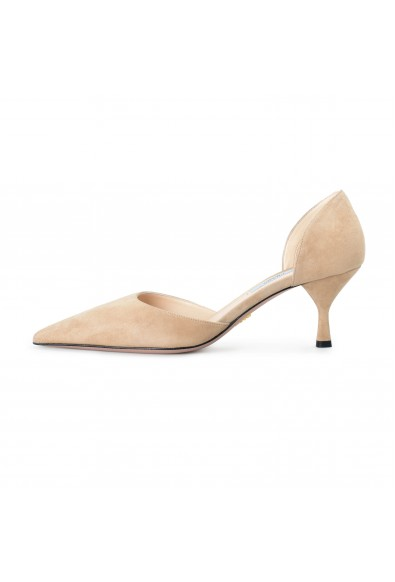 Prada Women's IT240L Beige Suede Leather Pumps Shoes: Picture 2