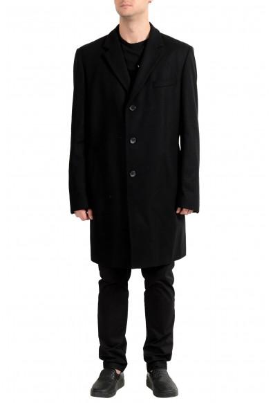 "Hugo Boss ""Nye1"" Men's Wool Black Three Button Coat"