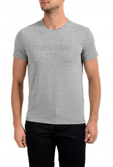 "Roberto Cavalli ""SPORT"" Men's Gray Embellished Stretch T-Shirt"