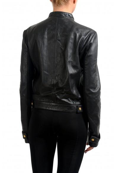 Versace Versus 100% Leather Black Full Zip Women's Basic Jacket: Picture 2