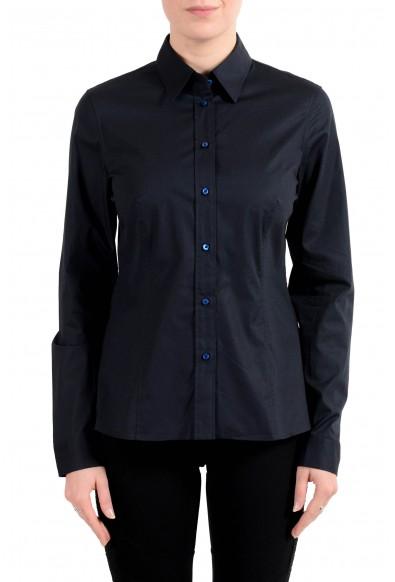 """Hugo Boss """"Banu13"""" Women's Blue Button Down Long Sleeve Shirt"""