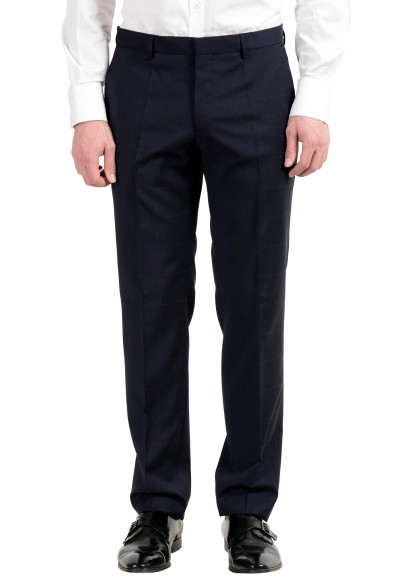 "Hugo Boss ""Huge6/Genius4"" Men's 100% Wool Dark Blue Plaid Two Button Suit: Picture 2"